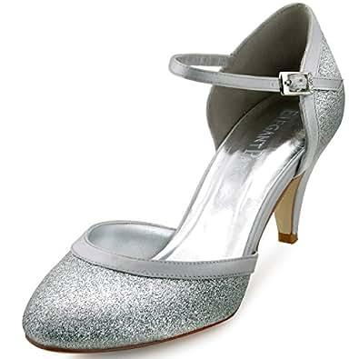 ElegantPark HC1510 Escarpins Brillant sliver bride cheville Femme Mary Janes Chaussures de Bal soiree 35