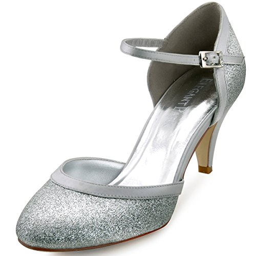 ElegantPark HC1510 Runde Zehen Hoch Absatz Schnalle Pumps Glitter PU Silber Party Tanzschuhe Damen Brautschuhe Gr.37