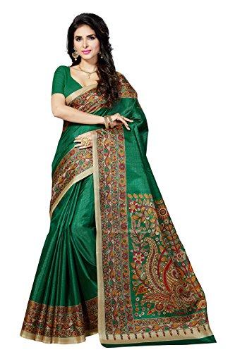 Rani Saahiba Women'S Synthetic Saree With Blouse Piece (Skr3064_Green)