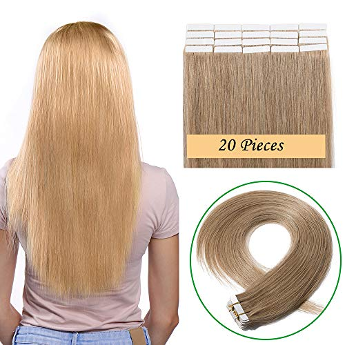 Extension adesive capelli veri biadesivo 20 fasce biadesive 50g tape extensions bionde remy human hair lisci naturali 2.5g/fascia (40cm #27 biondo scuro)