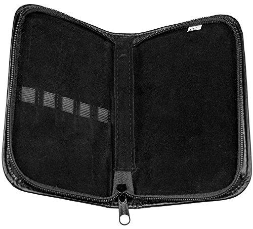 May - Kleine Tasche mit 5 Laschen zur Aufbewahrung von z.B. Nagelscheren und Beauty-Instrumenten mit Reißverschluß aus schwarzem Kunstleder