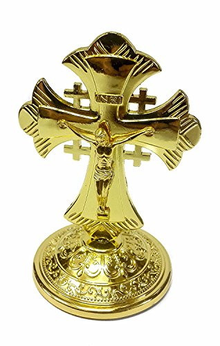 Stehende goldene Metall Kruzifix INRI Auto Auto Charme Kreuz Sockel Sockel Jerusalem Kreuz Charme