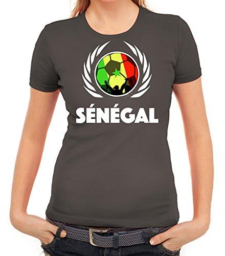 ShirtStreet Wappen Soccer Fussball WM Fanfest Gruppen Fan Wappen Damen T-Shirt Fußball Senegal Dunkelgrau