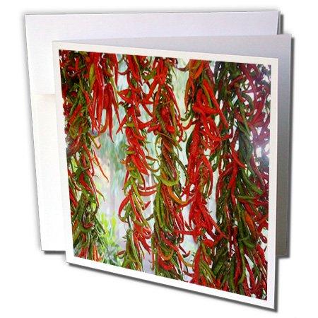 3drose besaitet und zum rot und grün Chili Peppers Trocknen–Grußkarten, 15,2x 15,2cm Set von 6(GC _ 243165_ 1)