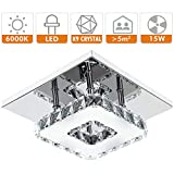 Fuloon Modern LED Ceiling Lights Fitting Aisle, Square Flush Crystal Ceiling Light LED Bulb White Chandelier Ceiling Lighting For Hall Lounge Bedroom Living Room Kitchen (1 Set Cold White / Single-lamp)