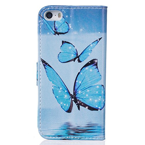 iPhone SE Custodia, iPhone 5S Custodia in pelle, custodia a portafoglio per iPhone SE, Tebeyy Colorful Premium Fiore Animal Cartoon Pattern Art dipinto in pelle PU funzione Flip Magnetica Custodia Pro Blue Butterfly