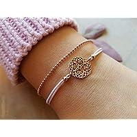 Armband Mandala Set 925 silber Roségold