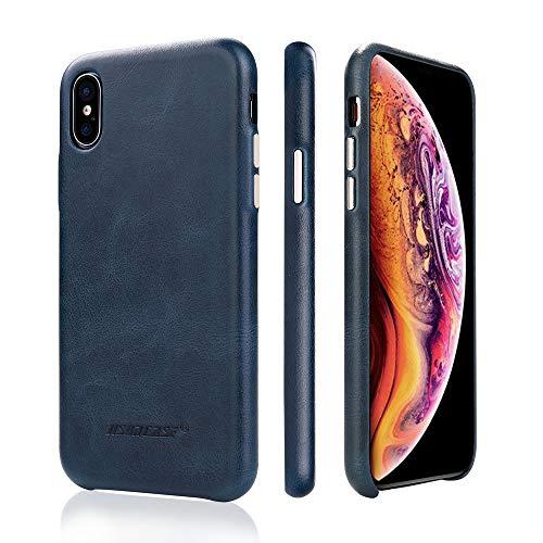 JISONCASE Lederhülle für iPhone X/iPhone XS, dünne Slim Schutzhülle Handytasche aus Echtleder Ledertasche für das Apple iPhone X/iPhone XS Blau, JS-IPX-05A40