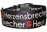 BGDesign Hundehalsband Herzensbrecher Geschenk Nylon Halsband große Hunde schwarz Klickverschluss L/XL verstellbar 40-59 cm x 3 cm breit