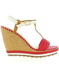 Zapatos de cuña de Mujer MARIA MARE 66348 ROJO-BRUSH CUERO