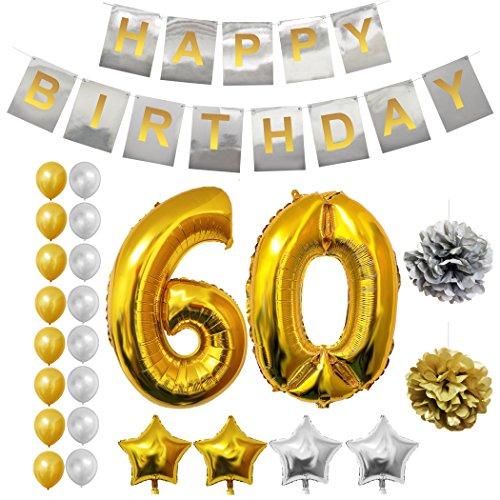 Happy Birthday Party Luftballons u. Dekoration zum 60. Geburtstag von Belle Vous - 24-tlg. Set - Großer 60 Jahre Folienballon - 30,5cm Gold u. Silberne Dekorative Latex-Ballons - Dekor für Erwachsene (Littlest Pet Shop-spielzeug Pferd)