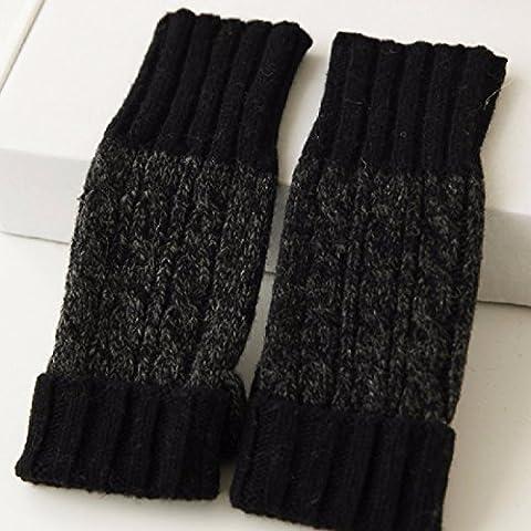 KHSKX Inverno caldo imbottito Korean ladies in maglia di lana ladies lungo metà del polso-guanti di lana,Nero
