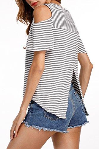 Frauen Ist Sommer, Kalte Schulter Streifen - T - Shirt - Split. Grey