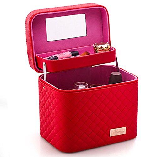 Femmes Cosmetic Box Designer Haute Qualité Portable Cosmétique Sac Grande Capacité PU Cosmétique Sac (Rouge)