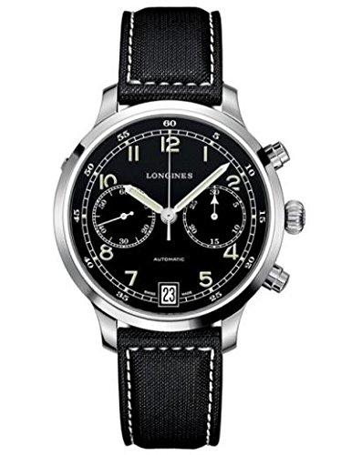 Longines Heritage 1938militaire montre automatique pour homme avec cadran noir chronographe Affichage et sangle en nylon Noir L27904530