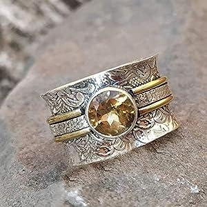 925 Sterling Silber Wide Band Ringe für Frauen, Angst Ring für Meditation, Geschenk Ring für Weihnachten
