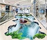BZDHWWH 3D Boden Pvc Selbstklebende Tapete Benutzerdefinierte 3D Boden Tapete Hai Fällt 3D Bodenbelag Wohnzimmer 3D-Wallpaper,200Cm X 300Cm