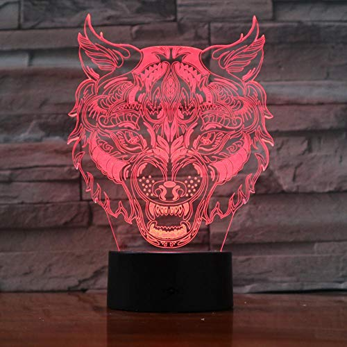 Lion Leopard Kopf Gesicht Design Touch Tischlampe 7 Farbe Ersatzlampe 3D Lampe Novel LED Nachtlicht USB Licht 3D-965
