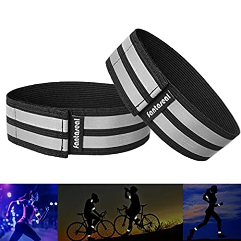 Fantaseal® High Reflective Safety Belt High Visibility Elastic Sports Wearable Bands Ankle Bands Armbands Wristband Sweatband Wrist Wrap Leg Strap Belt Reflective Fabric Tape Safety Sports Brace for Walking Jogging Running Cycling Sports & Outdoor Activity Gear- 2 pack ( 37 cm / 14 inch, Black