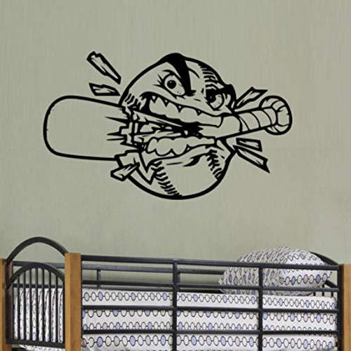 ljradj Baseball Smash Bat Wandaufkleber Kindergarten Kinderzimmer Cartoon Stil Vinyl Applique Baby Sportzimmer Hobby Kunst Aufkleber Rosa 69X42 cm -