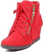 ShoBeautiful Women's Fashion Wedge Sneakers High Top Hidden Wedge Heel Platform Lace Up Shoes Ankle Bo