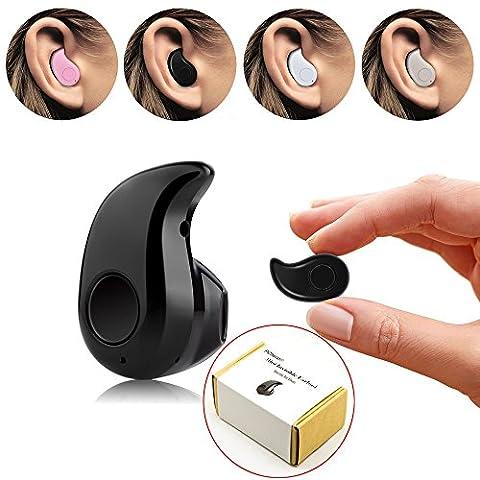 Mini PChero® Invisible Ultra Petit Bluetooth 4.0 Earbud Casque avec Microphone, Support des appels mains libres pour les téléphones intelligents, Parfait pour écouter de la musique au travail, pour l'oreille droite - [Black]