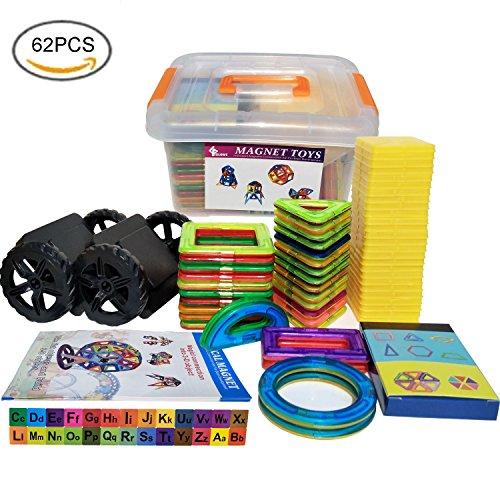 Magnetische Bausteine, Magnetische Bauklötze||Pädagogische Bausteine||Magnetische Konstruktion||Kleinkind Spielzeug Magnete Kinder - DIY Spielzeug mit Bedienungsanleitung und Aufbewahrungsbox - Und überall Karte Spielen