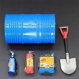 LanLan Accessori Decorativi per RC Rock Crawler 1:10 5 pz/Set Tamburo Olio Serbatoio Carburante Estintore Pala per Assiale per SCX10 Tamiya CC01 RC4WD D90 D110 TF2 RC Auto, Blu