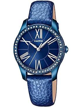 Calypso Damen-Armbanduhr Fashion analog Leder-Armband blau Quarz-Uhr Ziffernblatt blau UK5719/5