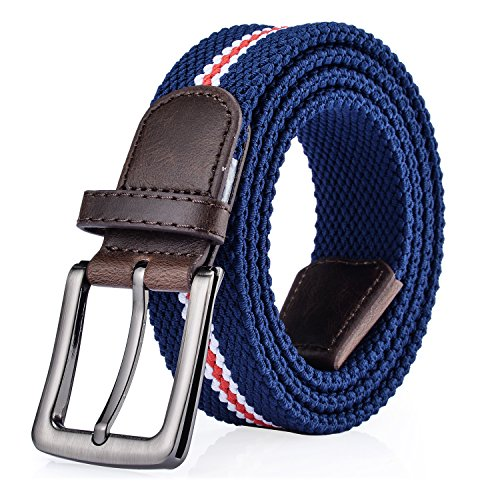 ITIEZY Cinturón Trenzado de Lona Elástico para Hombres y Mujeres, Cinturones Tejido Elástica Multicolor para Jeans