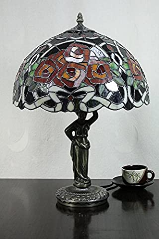 Carl Artbay 12-Inch Vintage Pastoral Romantic Rose Stained Glass Tiffany Table Lamp Bedroom Lamp Bedside Lamp