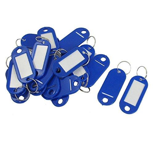 20 PC-Schlüssel-ID-Aufkleber Schlagwörter Split Ring Schlüsselanhänger Schlüsselanhänger Blau