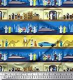 Soimoi Blau Baumwolle Batist Stoff Reise-Thema Urlaub Stoff