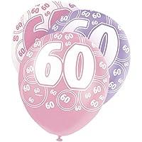 Unique Party 80877 Palloncini Lattice per 60° Compleanno, Confezione da 6, Rosa Brillante - 60 ° Compleanno Palloncini
