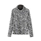 Oliviavan Winter Tops, Leopardenmuster Tops Langärmeliges Schöne Damen Blusen T-Shirt mit Hohem Kragen Leopardenhemd Oben Dirndl blusen
