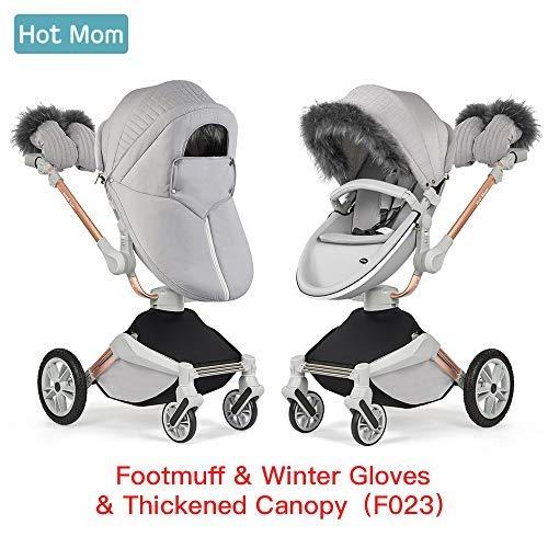 Hot Mom Winter Kit für Hot Mom Kinderwagen Model F023-2018 inkl. Handschuhe, Fußsack, Winter Schutz Kinderwagen Zubehör