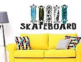 """I-love-Wandtattoo WAS-10699 Jugendzimmer Wandsticker """"Farbige Skateboard Decks mit Schriftzug"""" Skater Motiv zum Kleben Skate Wandtattoo Sport Wandaufkleber Longboard Sticker Wanddeko für Jugendliche"""