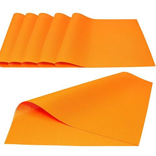 Küche Talents einfachen Stil PVC Tisch-Sets Wärmedämmung Tisch Matte Displayschutzfolie griffigen, Set 6PCS (orange) (Tisch Matten Set 6)