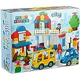 Play Build City Building Blocks Set -123 Piezas - Incluye tienda de comestibles, caja registradora, casa, árbol, coche, comida, mamá y niña Minifiguras, perro, conejo y más - Compatible con LEGO DUPLO