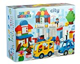 Play Build City Bausteine ??Set -123 Pieces - Inklusive Grocery Store, Kasse, Haus, Baum, Auto, Essen, Mom & Girl Minifiguren, Hund, Kaninchen & Mehr - Kompatibel mit Lego Duplo