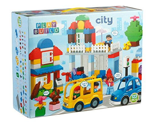 Play-Build-City-Building-Blocks-Set-123-Pieces--Includes-Grocery-Store-Cash-Register-House-Tree-Car-Food-Mom-Girl-Minifigures-Dog-Rabbit-More--Compatible-with-LEGO-DUPLO