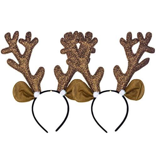 Toyvian 2 piezas tela navideña diadema cuernos reno
