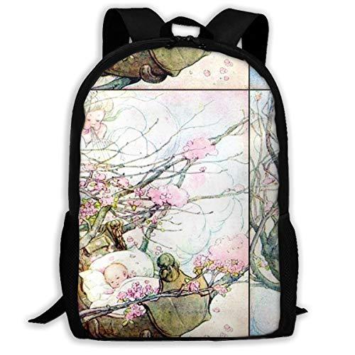 Baby Wiegenlied Wind Kinderreime Gedichte Bäume Rock Bye Wiegen Sakura Blumen Wolken Astschläge Klassischer Rucksack Reise Laptop Rucksack, College School Student Rucksack für Männer und Frauen