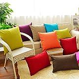 Fundas de cojín Coliang de lino, color simple sólido, para sofá, oficina, coche, dormitorio (30 x 45 cm), color rojo oscuro, Naranja, 40x60CM(No Insert)