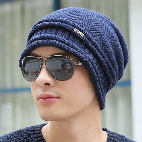 FQG*L'autunno inverno uomini cappelli Cappelli a maglia e cappuccio caldo