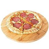 Streambrush Pizzabrett - Das Holz Schneidebrett zum perfekten & einfachen Schneiden von Pizza - Pizzateller und Schneidbrett in Einem für gleichmäßig große Stücke (Rund 6 Stücke)