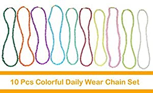 Pearls & Crystals Daily Wear Colorful Fashion Chain Set of 10pcs