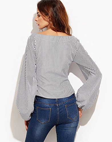 Minetom Damen Frauen Elegant Casual Loose Rundhals Langarm Bowknot Tunika Bluse Oberteil T-Shirt Tops Strand Schwarz