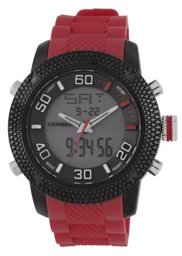 CEPHEUS - CP903-624 - Montre Homme - Quartz Analogique et Digitale - Alarme/Eclairage - Bracelet Silicone Rouge