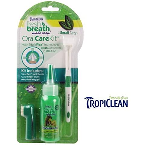 TropiClean Oral Care Kit Small Dogs ( TropiClean fresh breath made easy! Oral care Kit with TripleFlex technologhy cleans all surfaces in less time. Many pet owners prefer a hands-on approach to oral care. This advanced brushing kit includes aQuickFinger brush, Advanced Brushing Gel and the TripleFlex Toothbrush...advanced brushing made easy! Features: For Small Dogs ForDogs and Cats veterinarian recommended. QuickFinger brush; Brushing your pets teeth on the go has never been easier, by